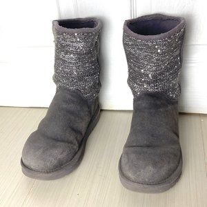 NICE Gray and Silver Sequin UGG Boots Size…